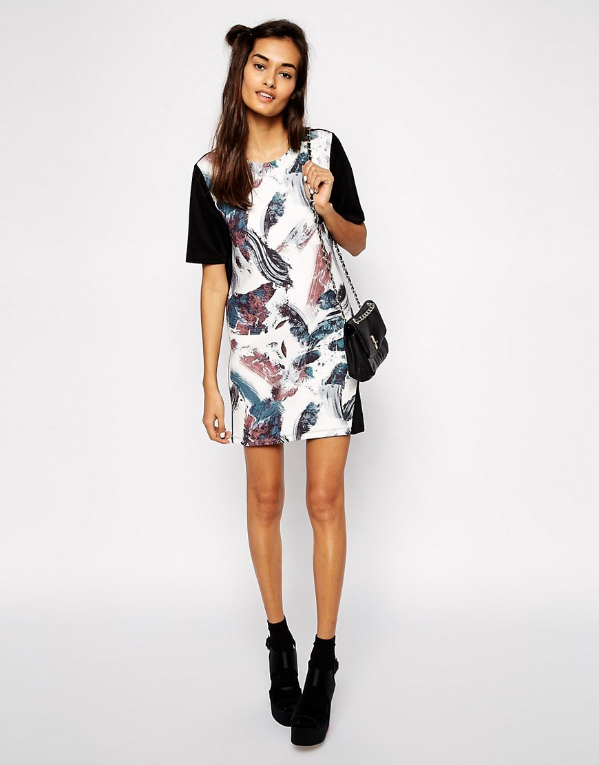 Asos T Shirt Shift Dress In Bonded Brush Stroke Print by Asos Collection