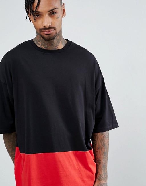 T-shirt ultra oversize avec demi effet coupé cousu