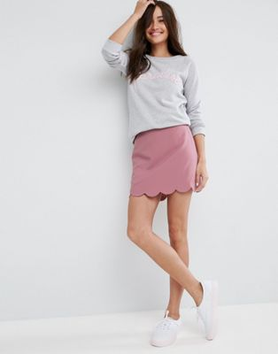 Image 1 of ASOS Tailored A-Line Mini Skirt with Scallop Hem