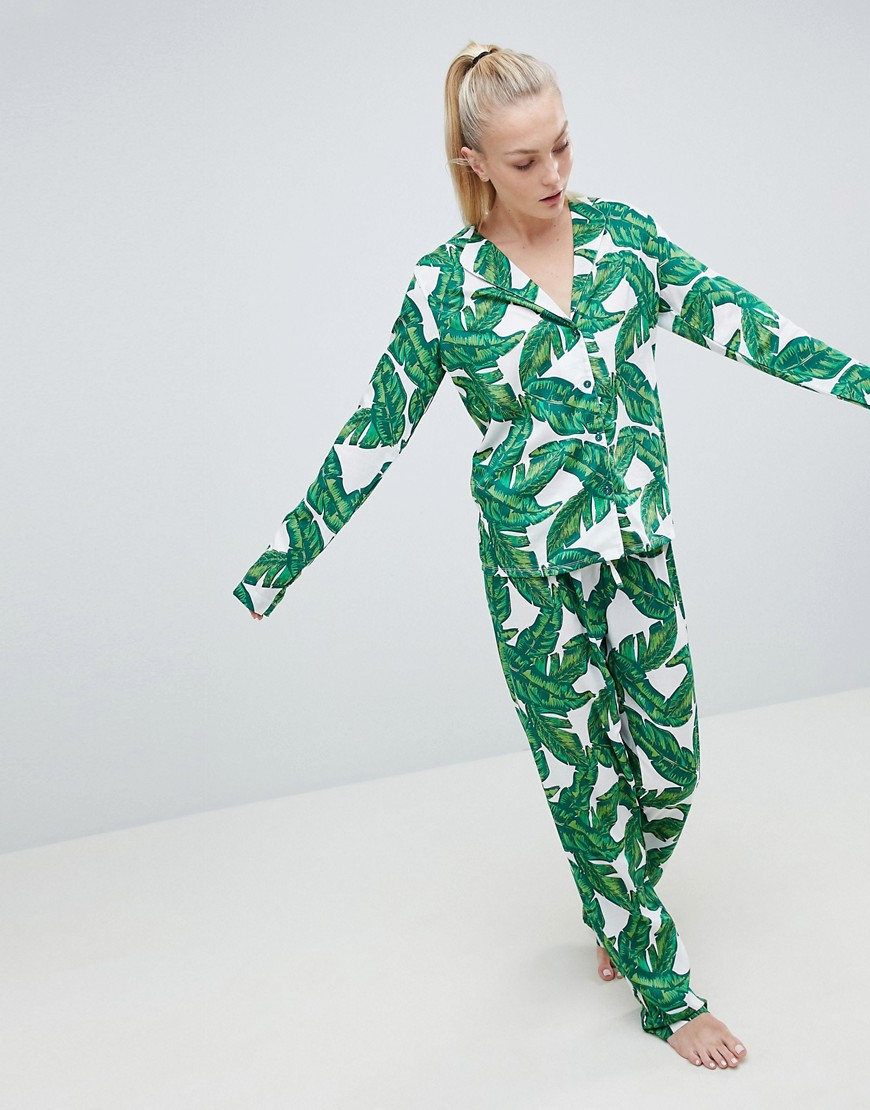 Asos Tall Banana Leaf 100 Percents Modal Traditional Shirt & Trouser Pyjama Set by Asos Design