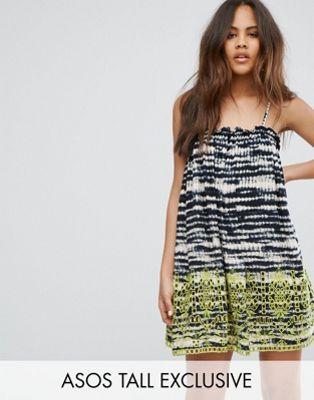 Image 1 of ASOS TALL Beach Broidery Tie Dye Swing Dress