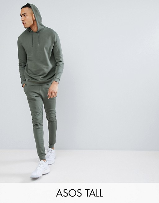 TALL - Ensemble de survêtement pantalon de jogging super skinny/hoodie - Vert