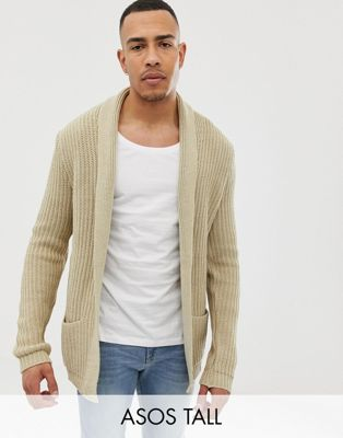 Image 1 of ASOS TALL Knitted Cardigan In Oatmeal