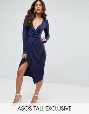 Image 1 of ASOS TALL Long Sleeve Wrap Front Midi Dress