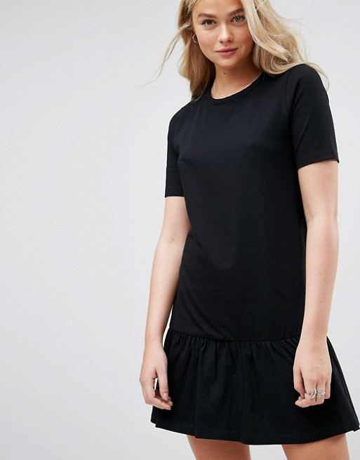 Mini Drop Hem T-Shirt Dress - Black Asos Tall lXt2NJD1L