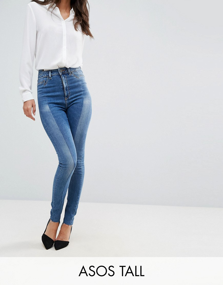 RIDLEY High Waist Skinny Jeans With Seamed Split Front in Noelle Light Wash - Noelle light wash Asos Tall