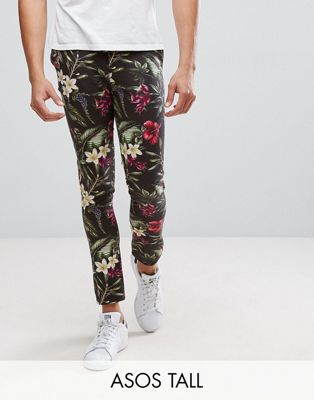 Image 1 of ASOS TALL Super Skinny Trousers In Bright Floral Leaf Print