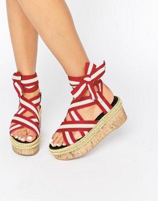 Image 1 of ASOS THRILLING Tie Leg Flatform Sandals
