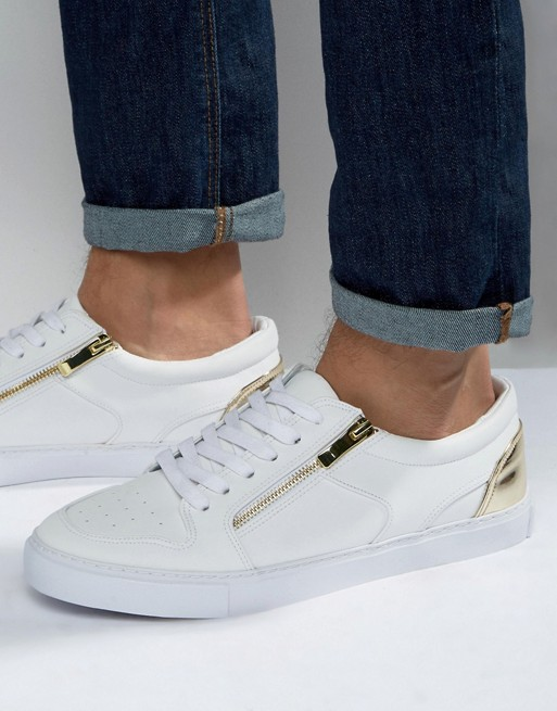 Home; ASOS Trainers in White With Gold Zip. image.AlternateText