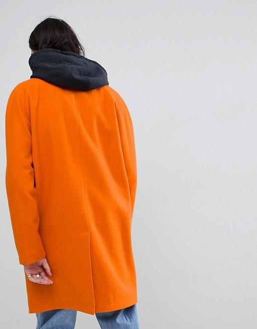 Trench-coat en laine mélangé avec capuche en jersey - Orange