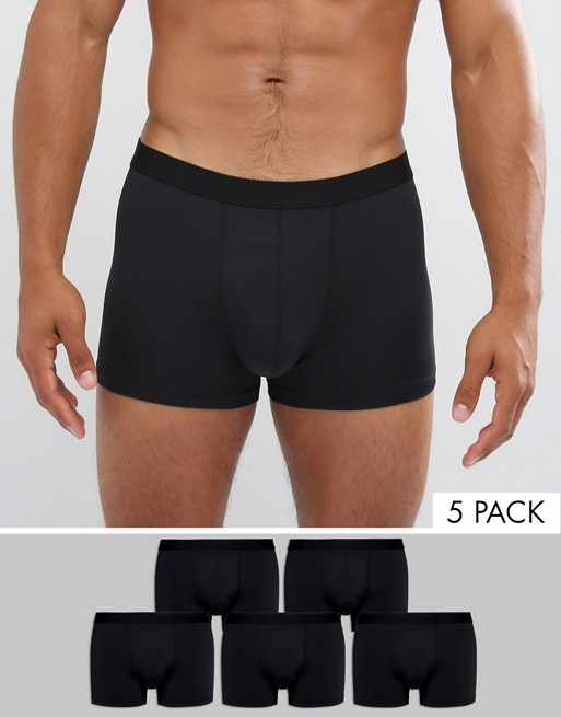 Home; ASOS Trunks In Black Microfibre 5 Pack SAVE. image.AlternateText