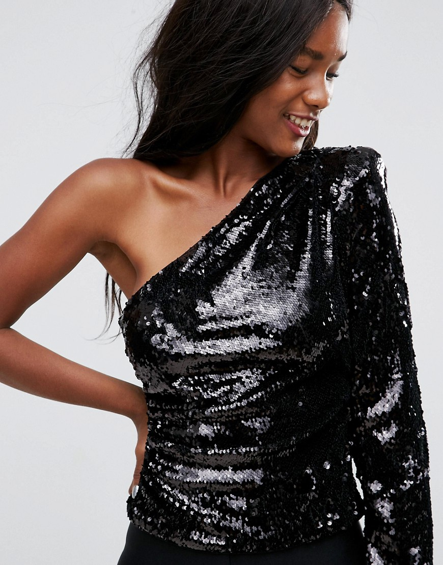 Ultimate Sequin One Shoulder Top - Black Asos