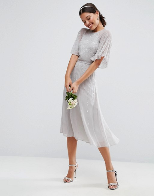 Asos asos wedding embellished flutter sleeve midi dress for Flutter sleeve wedding dress