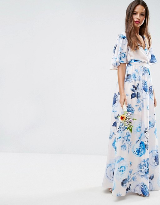 Asos asos wedding pink base floral flutter sleeve maxi dress for Robe fleurie asos