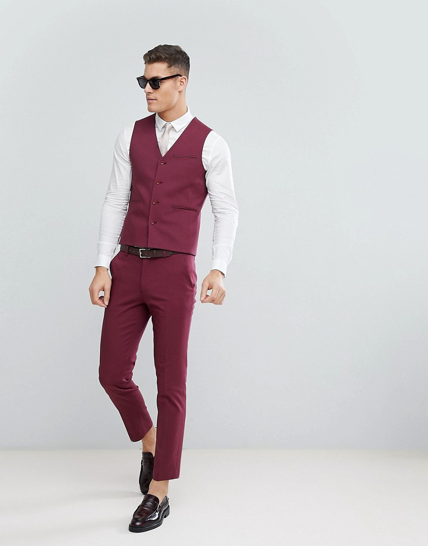 Asos Wedding Skinny Suit Pants In Wine by Asos