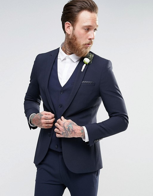 ASOS Wedding Navy Super Skinny Suit
