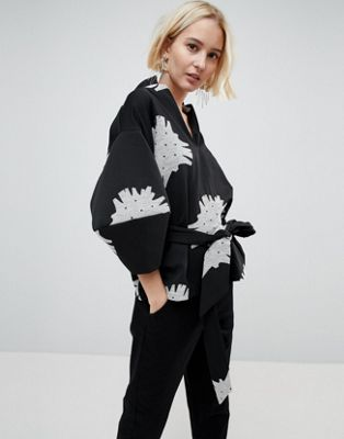 Image 1 of ASOS WHITE Mono Floral Structured Sleeve Top