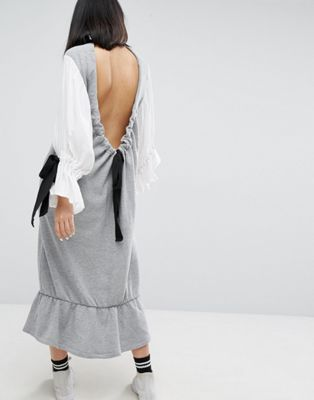 Image 1 of ASOS WHITE Open Back Sweat Dress With Contrast Balloon Sleeves