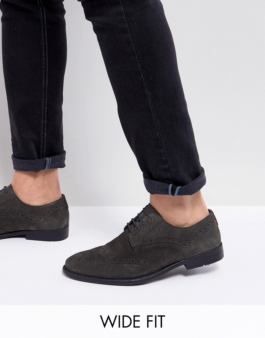 ASOS Wide Fit Casual Brogue Shoes In Grey Suede With Distressed Sole