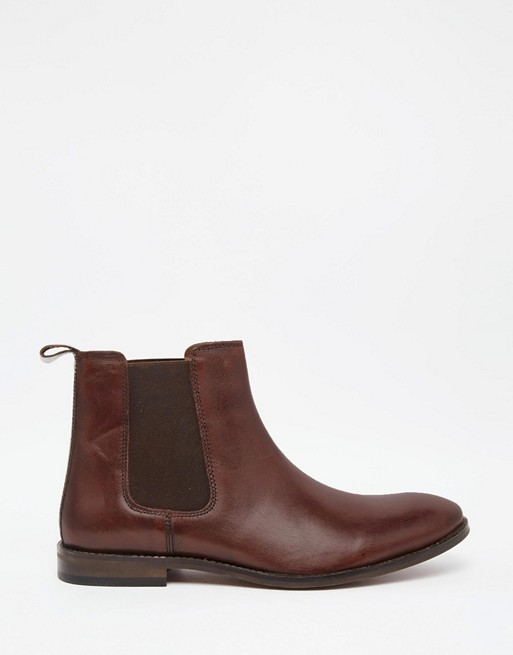 Boots Leather Fit Brown ASOS in Wide Chelsea 8Fwnatq