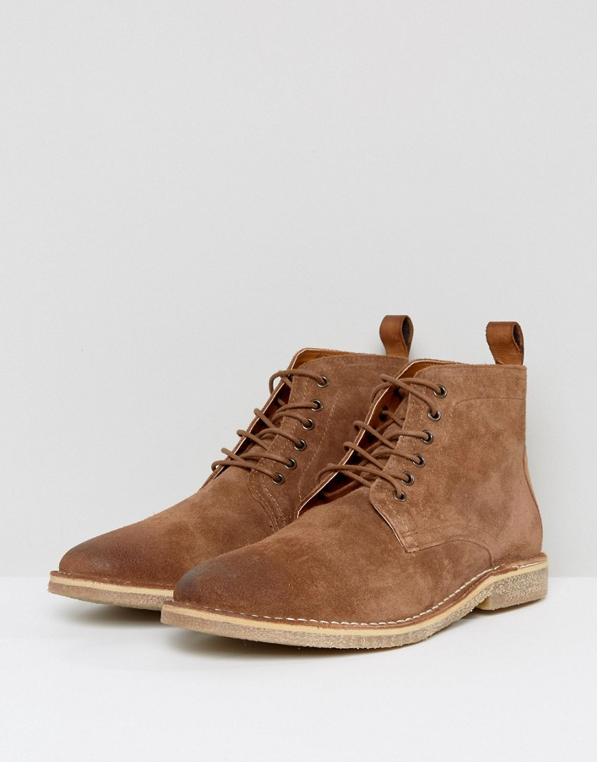 Desert Boots In Tan Leather With Suede Detail - Tan Asos