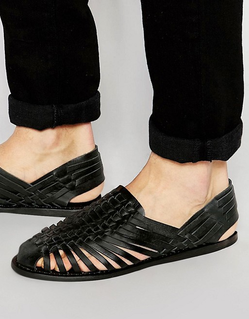 Home; ASOS Woven Sandals in Black Leather. image.AlternateText