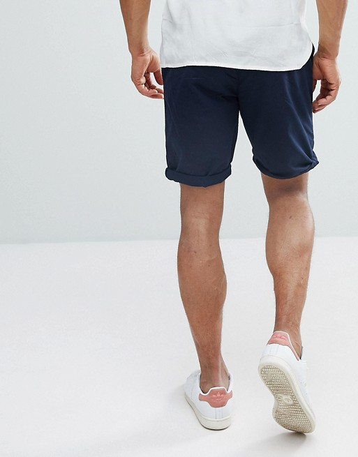 Belted Shorts In Navy - Navy Bershka A0M1IhNG3