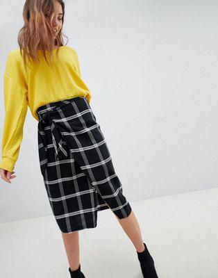 Check wrap midi skirt
