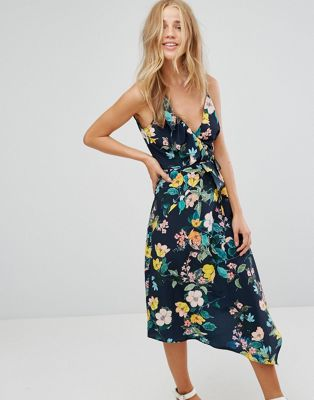 Image 1 of Bershka Strappy Floral Asymmetric Dress