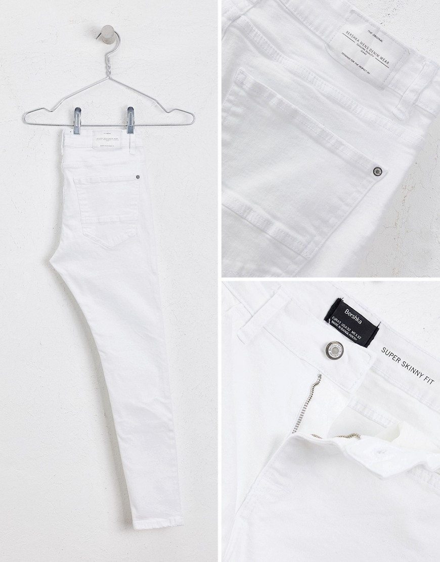 Bershka Super Skinny Jeans In White by Bershka