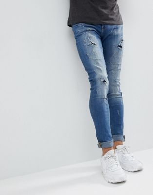 Image 1 of Blend Lunar Light Wash Distressed Super Skinny Jeans