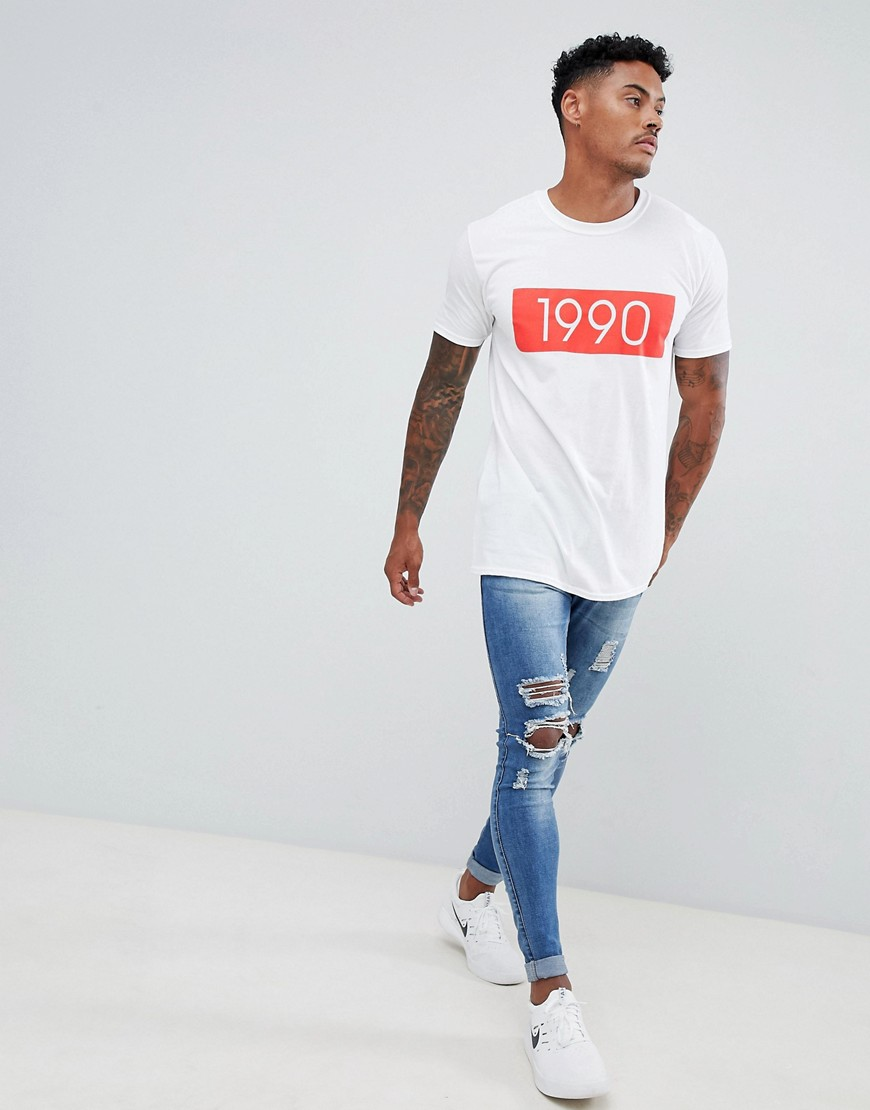 Boohoo Man T Shirt With 1990 Print by Boohoo Man