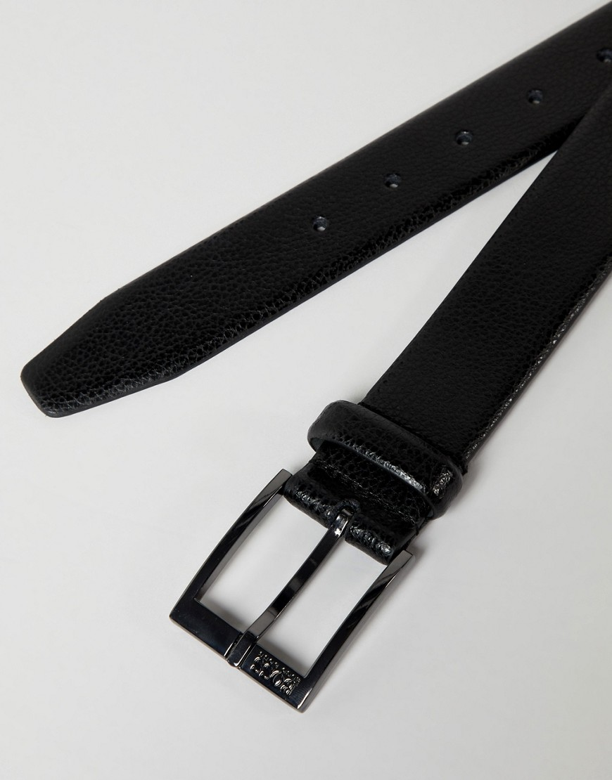 Boss Elloy Textured Logo Buckle Leather Belt In Black by Boss