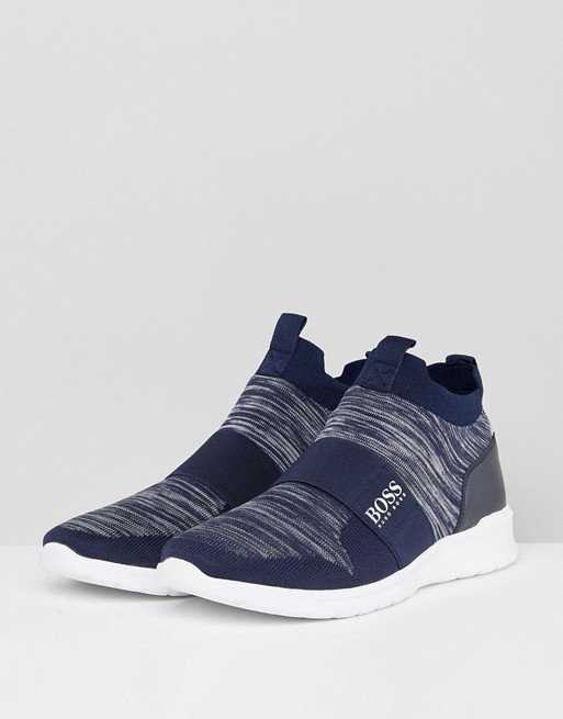 BOSS Knitted Ankle Trainers in Navy best store to get cheap online 09tY3WiKe