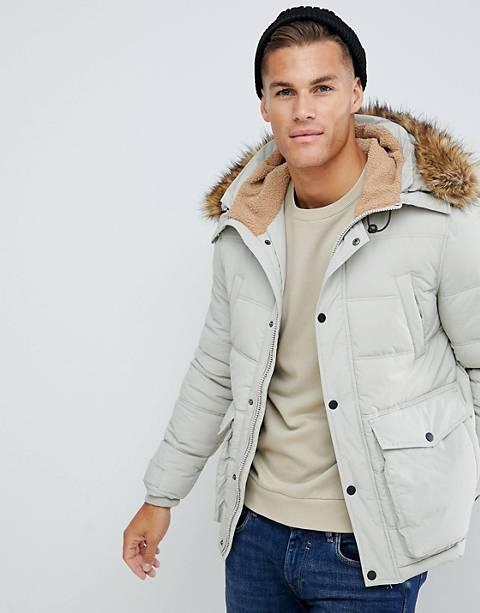 Burton Menswear borg lined puffer jacket in ecru