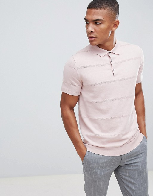 Burton In Knitted Polo Sleeve Menswear Pink Short z740p