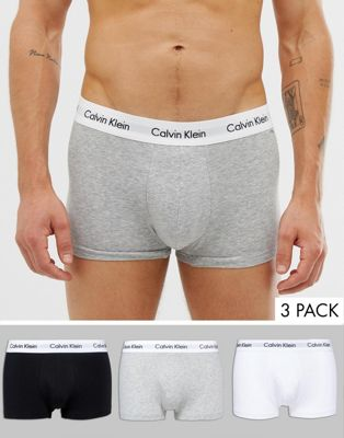 Image 1 of Calvin Klein Low Rise Trunks 3 Pack in Cotton Stretch