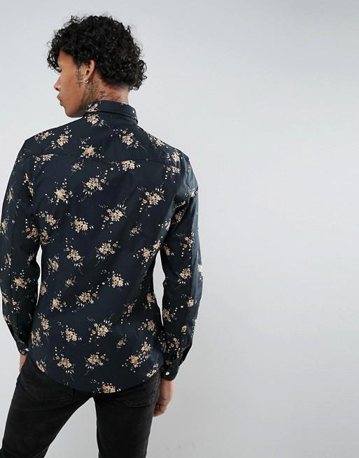Camisa de corte slim estilo western de flores de ASOS