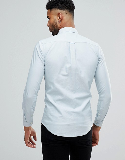 Camisa Oxford de corte ajustado con botones en azul claro de Farah TALL