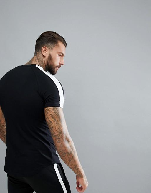 Camiseta ajustada negra con diseño de rayas de Muscle Monkey