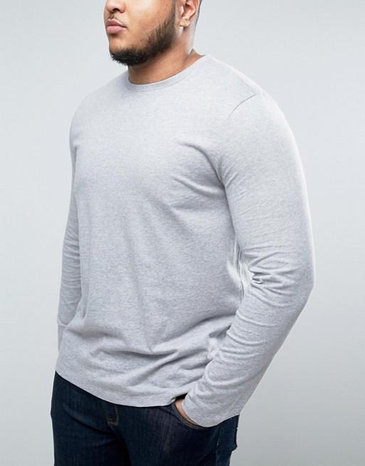 Camiseta de manga larga en gris marga con cuello redondo de ASOS PLUS