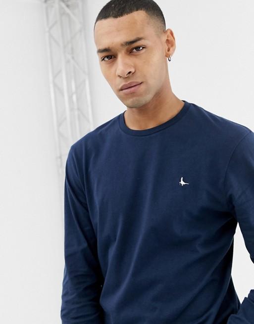 Camiseta en azul marino de manga larga con logo de Jack Wills