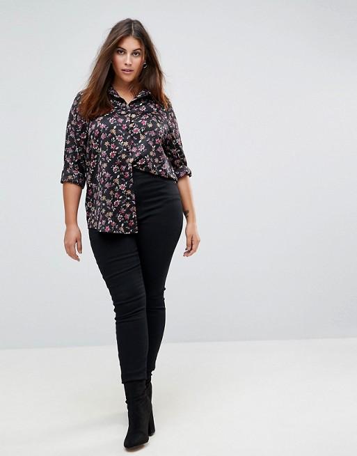 Camiseta holgada con estampado floral de estilo grunge de Glamorous Curve