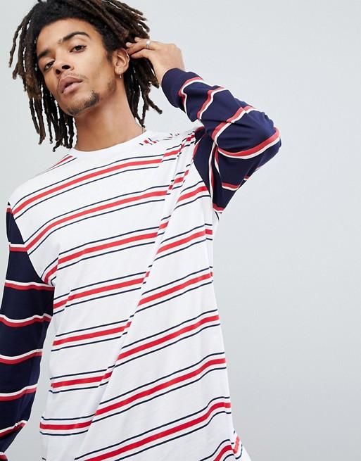 Camiseta larga y holgada a rayas de manga larga en contraste de ASOS