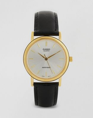 Image 1 of Casio Black Leather Strap Watch MTP1095Q-7A