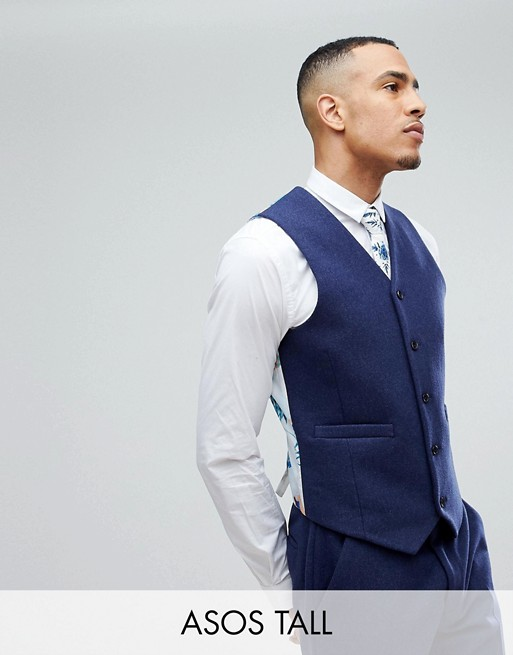 Chaleco de traje ajustado en mezcla de lana azul marino de ASOS TALL Wedding
