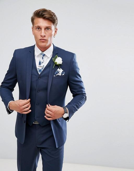 Chaqueta de traje de corte slim en azul medio de ASOS Wedding
