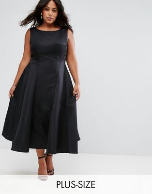 Image 1 of Chi Chi London Plus Fit and Flare Midi Dress with Seam Detail