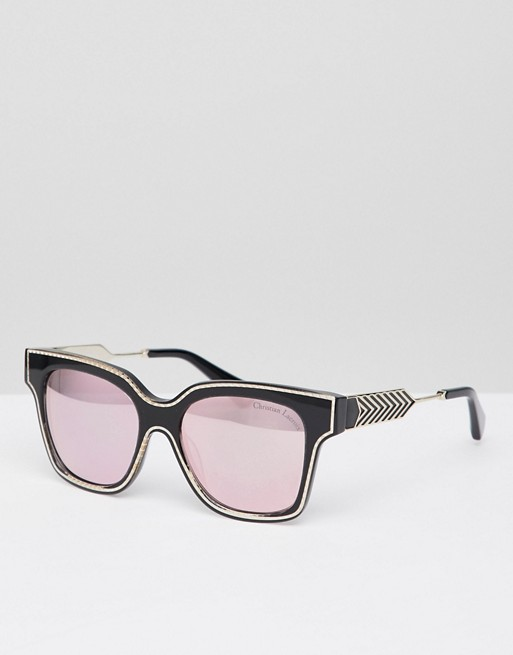 Croix sunglasses square La black Christian gold rose Lacroix Christian with lens in g5qqwpBx