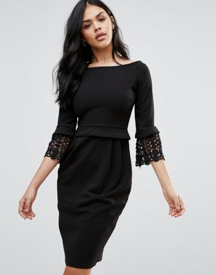 Image 1 of City Goddess 3/4 Sleeve Pencil Dress With Lace Cuff